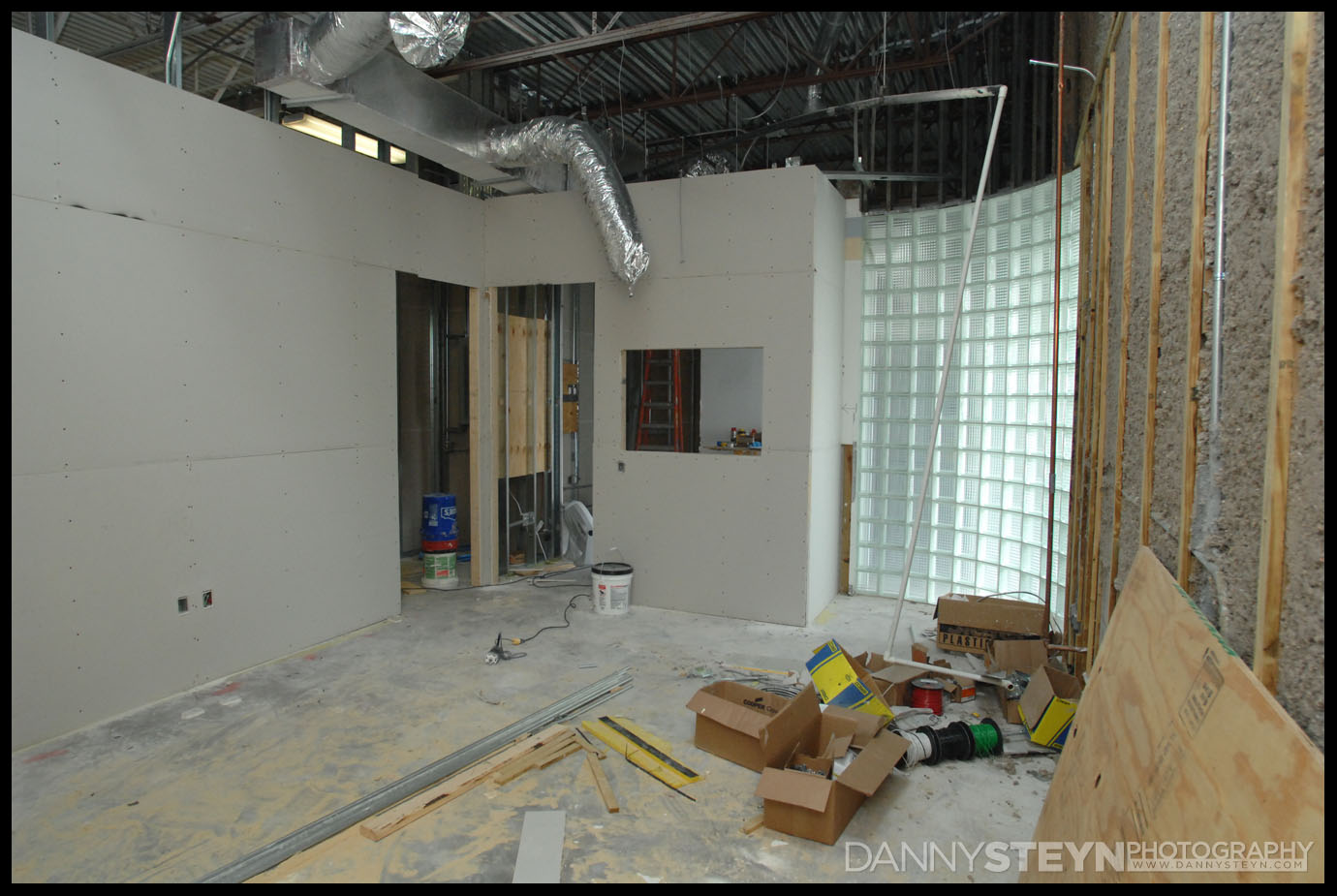 Drywall going up in the Editing Room, window and door to Lobby, door to Prop Room and Server station