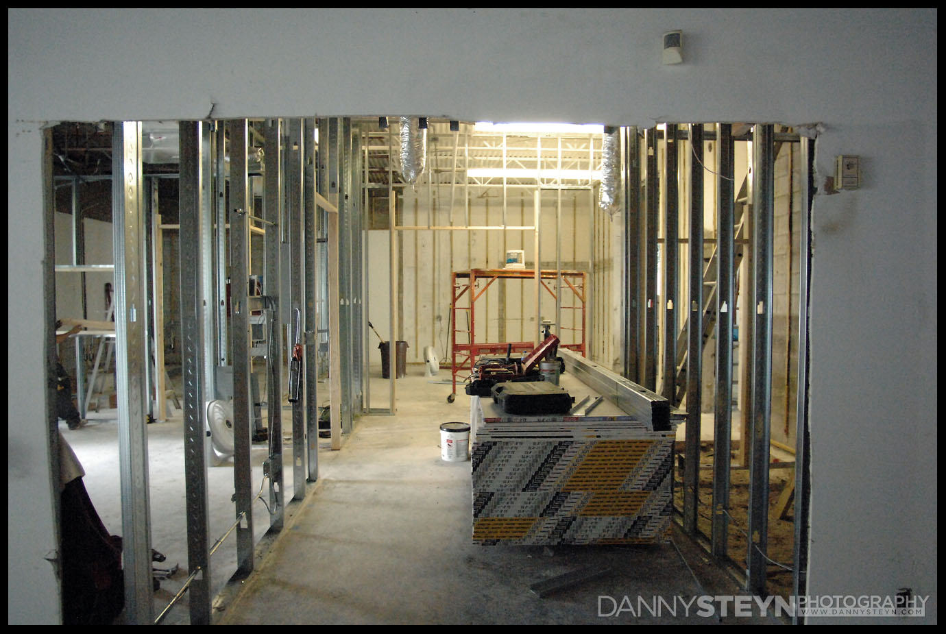 Looking from the Main Portrait studio, through the Gallery into the Prop room. Lobby to the left, new ADA bathroom to the right