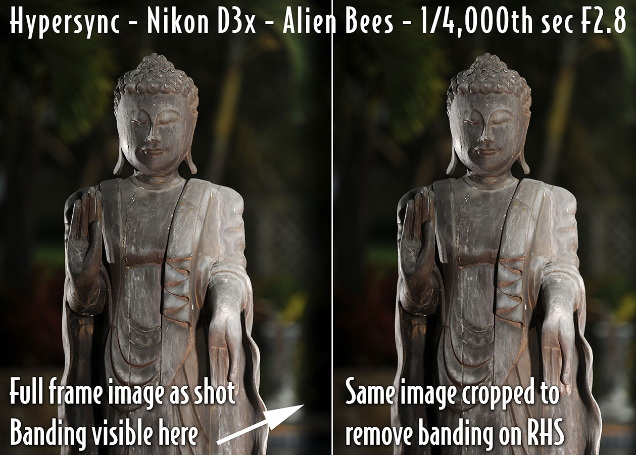 Hypersync testing with Nikon D3X, three Alien Bees 640WS monolights all at full power, One main light, two rim lights all bare bulb. ISO 100 F2.8 1/4000th second shutter speed. Banding is noticeable on full frame image on left but minimal cropping reveals a perfectly exposed image